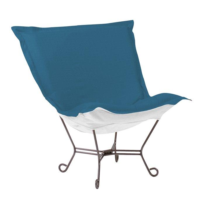 Howard Elliott Scroll Puff Chair Outdoor Sunbrella Seascape Turquoise Titanium Frame Complete Chair Thumbnail