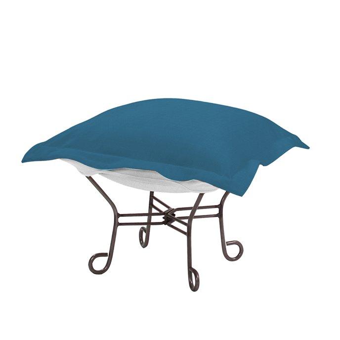 Howard Elliott Scroll Puff Ottoman Outdoor Sunbrella Seascape Turquoise Titanium Frame Complete Ottoman Thumbnail