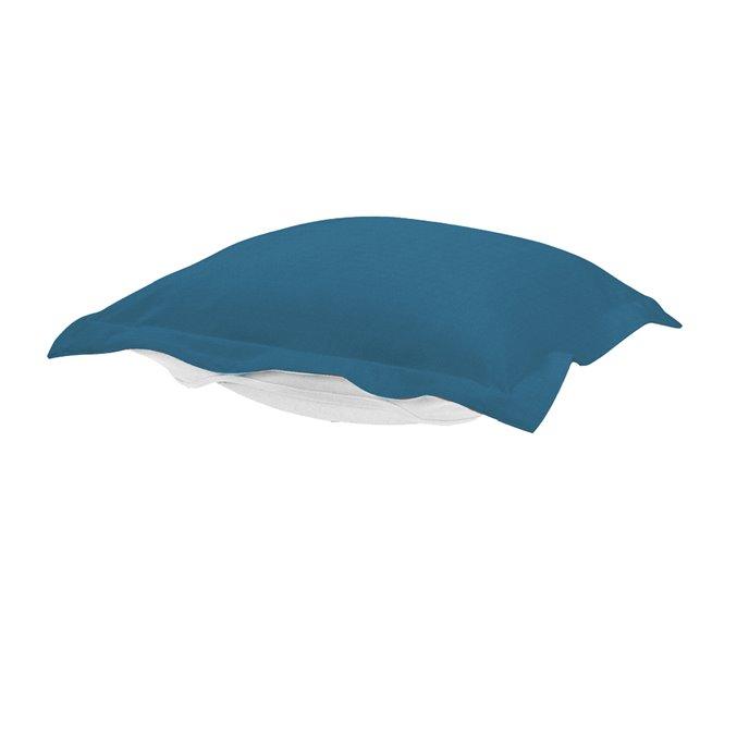 Howard Elliott Puff Chair Ottoman Outdoor Sunbrella Seascape Turquoise Cushion and Cover Thumbnail