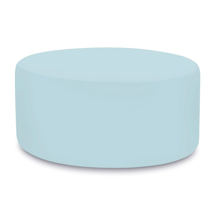 Howard Elliott Universal Round Ottoman Cover Sunbrella Outdoor Seascape Breeze - Cover Only, Base Not Included Thumbnail