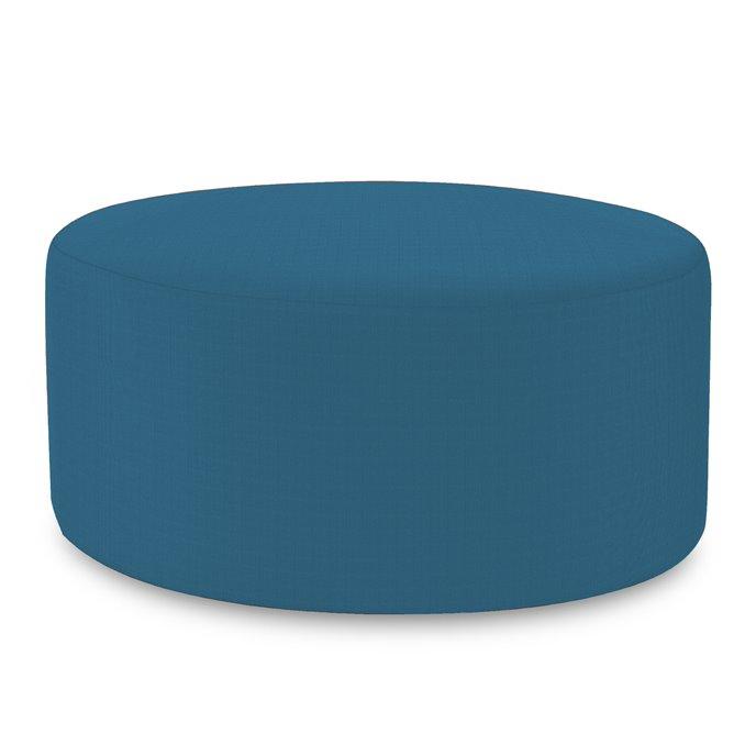 Howard Elliott Universal Round Ottoman Outdoor Sunbrella Seascape Turquoise Complete Ottoman Thumbnail