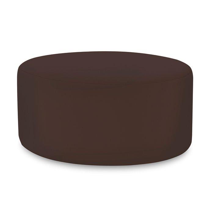 Howard Elliott Universal Round Ottoman Outdoor Sunbrella Seascape Chocolate Complete Ottoman Thumbnail
