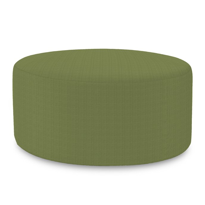 Howard Elliott Universal Round Ottoman Cover Sunbrella Outdoor Seascape Moss - Cover Only, Base Not Included Thumbnail