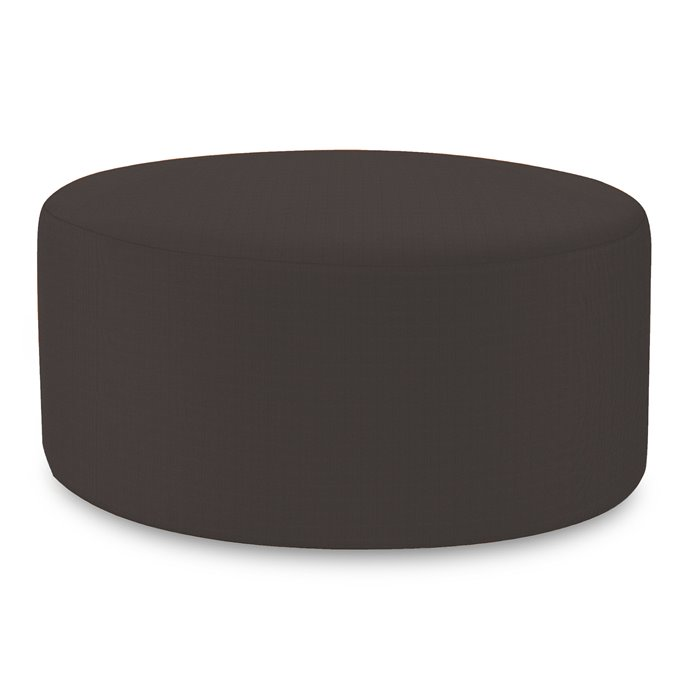 Howard Elliott Universal Round Ottoman Cover Sunbrella Outdoor Seascape Charcoal - Cover Only, Base Not Included Thumbnail