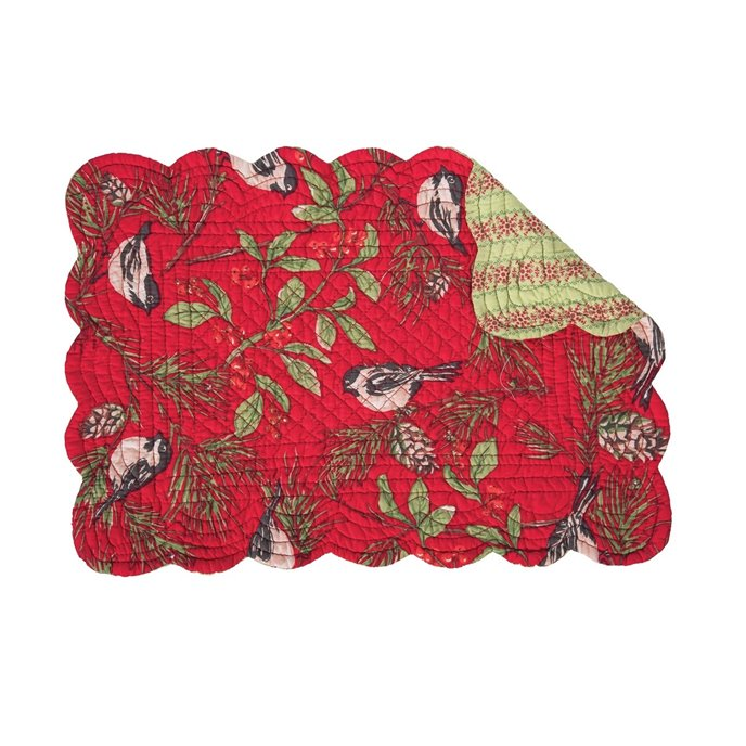 Chickadee Red Rectangular Quilted Placemat Thumbnail