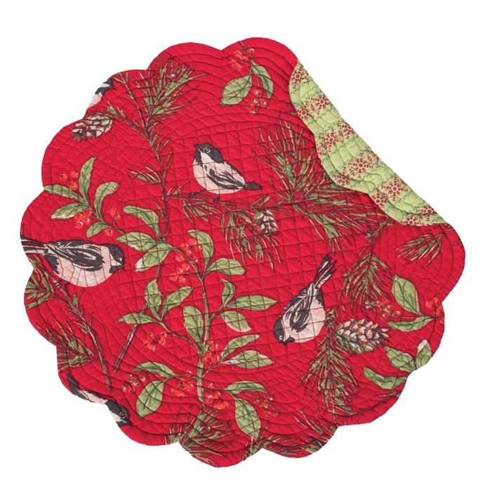 Chickadee Red Round Quilted Placemat Thumbnail