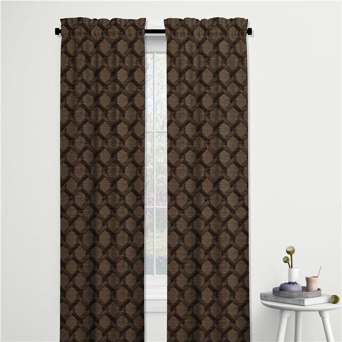 "Malden Chocolate Pinch Pleat Drapery Panel - 25""x96"" Thumbnail"