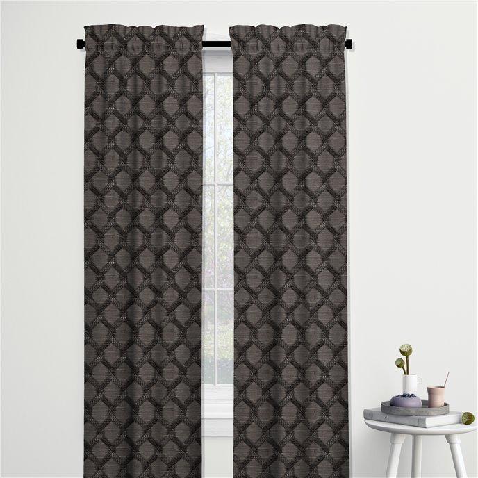 "Malden Charcoal Pole Top Drapery Panel - 50""x108"" Thumbnail"