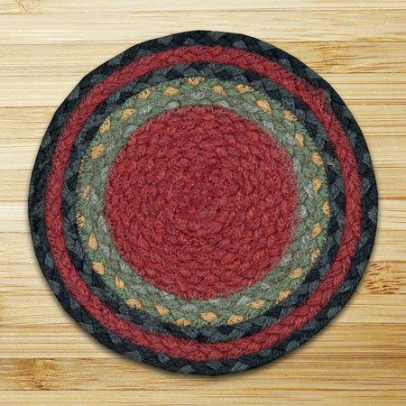 """Burgundy/Olive/Charcoal Round Braided Swatch 10""""x10"""" Thumbnail"""
