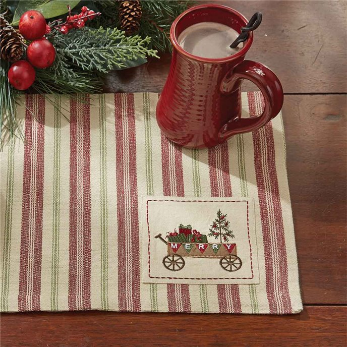 Merry Woven Striped Placemat  with Embroidered Patch Thumbnail