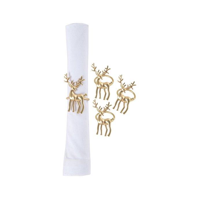 Gold Deer Napkin Ring- Set of 4 Thumbnail