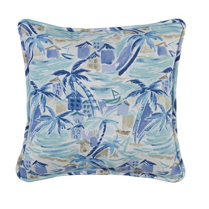 Tropical Paradise Blue Square Pillow - Main Print Thumbnail