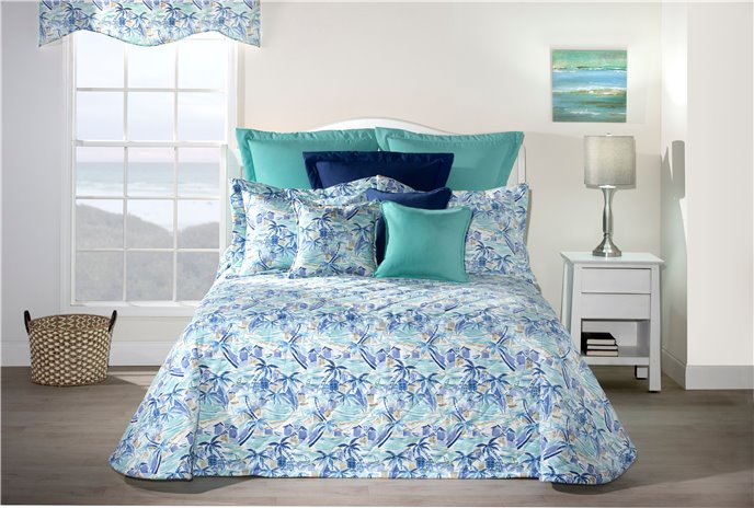 Tropical Paradise Blue Queen Bedspread Thumbnail