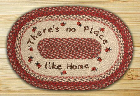 "No Place Like Home Braided and Printed Oval Rug 20""x30"" Thumbnail"