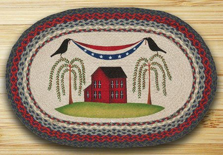 "Patriotic Crow Braided and Printed Oval Rug 20""x30"" Thumbnail"