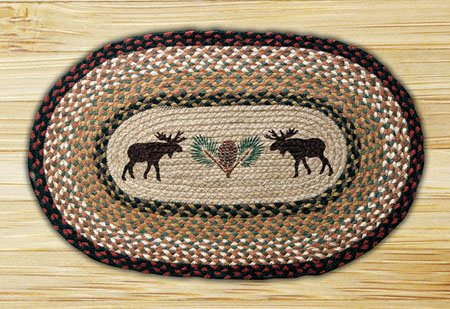 "Moose and Pinecone Braided and Printed Oval Rug 20""x30"" Thumbnail"