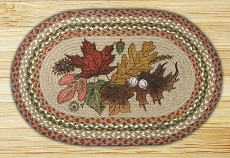"Autumn Leaves Braided and Printed Oval Rug 20""x30"" Thumbnail"