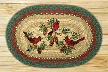 "Cardinals Braided and Printed Oval Rug 20""x30"" Thumbnail"