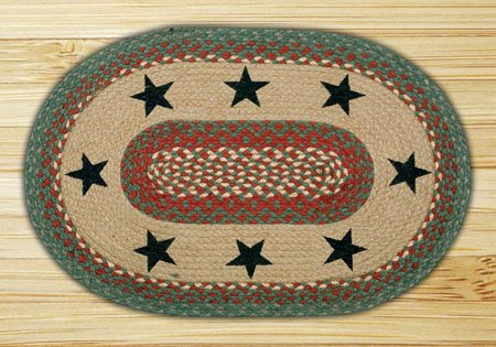 "Green Stars Braided and Printed Oval Rug 20""x30"" Thumbnail"