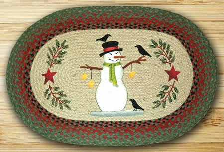 "Snowman with Crow Braided and Printed Oval Rug 20""x30"" Thumbnail"