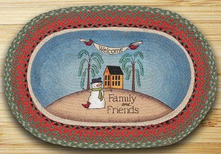 """Welcome Family and Friends Braided and Printed Oval Rug 20""""x30"""" Thumbnail"""