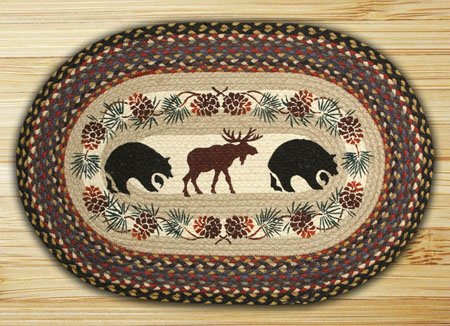 "Bear / Moose Braided and Printed Oval Rug 20""x30"" Thumbnail"