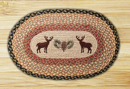 "Deer / Pinecone Braided and Printed Oval Rug 20""x30"" Thumbnail"