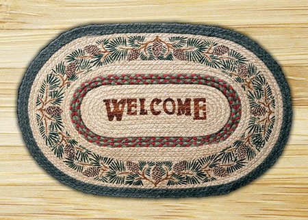 "Pinecone / Welcome Braided and Printed Oval Rug 20""x30"" Thumbnail"