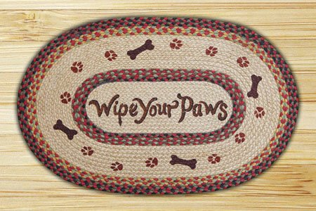 "Wipe Your Paws Braided and Printed Oval Rug 20""x30"" Thumbnail"