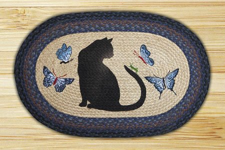 "Cat / Grasshopper Braided and Printed Oval Rug 20""x30"" Thumbnail"