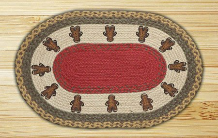 "Gingerbread Men Braided and Printed Oval Rug 20""x30"" Thumbnail"