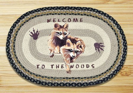 "Raccoon Welcome Braided and Printed Oval Rug 20""x30"" Thumbnail"