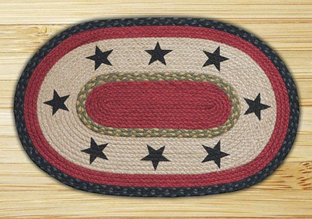 "Black Stars Braided and Printed Oval Rug 20""x30"" Thumbnail"