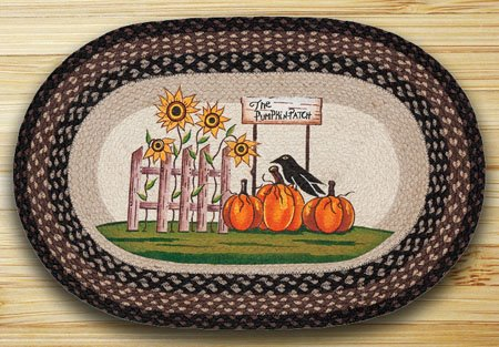"""Pumpkin Patch / Sunflower Braided and Printed Oval Rug 20""""x30"""" Thumbnail"""