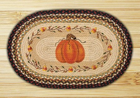 "Pumpkin / Candy Corn Braided and Printed Oval Rug 20""x30"" Thumbnail"