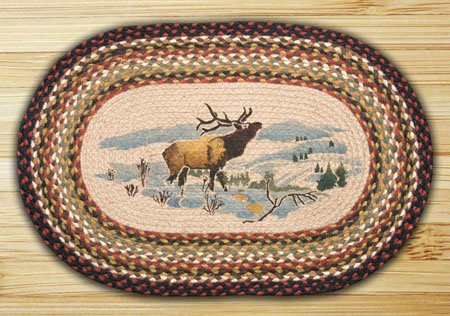 "Winter Elk Braided and Printed Oval Rug 20""x30"" Thumbnail"
