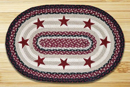 "Burgundy Stars with Gray and White Braided and Printed Oval Rug 20""x30"" Thumbnail"