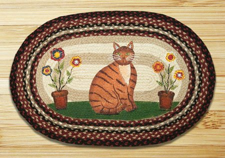 "Folk Art Cat Braided and Printed Oval Rug 20""x30"" Thumbnail"