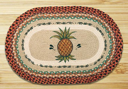 "Pineapple Braided and Printed Oval Rug 20""x30"" Thumbnail"
