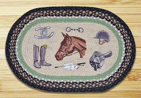 "Equestrian Braided and Printed Oval Rug 20""x30"" Thumbnail"