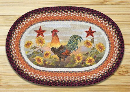"Morning Rooster Braided and Printed Oval Rug 20""x30"" Thumbnail"