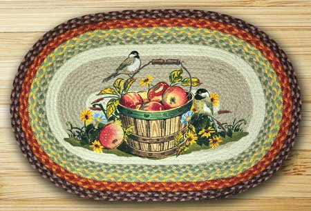 "Apple Chickadee Braided and Printed Oval Rug 20""x30"" Thumbnail"