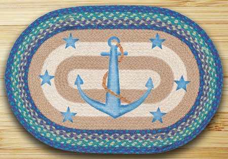 "Anchor Stars Braided and Printed Oval Rug 20""x30"" Thumbnail"