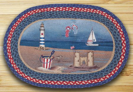 "American Coast Braided and Printed Oval Rug 20""x30"" Thumbnail"