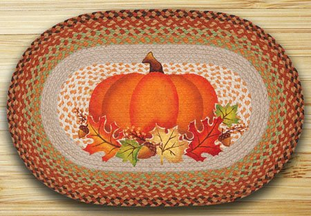 "Pumpkin Leaf Braided and Printed Oval Rug 20""x30"" Thumbnail"
