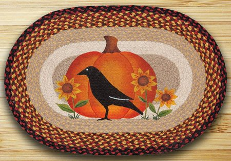 "Crow Pumpkin Sunflower Braided and Printed Oval Rug 20""x30"" Thumbnail"