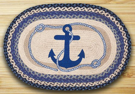 "Navy Anchor Braided and Printed Oval Rug 20""x30"" Thumbnail"