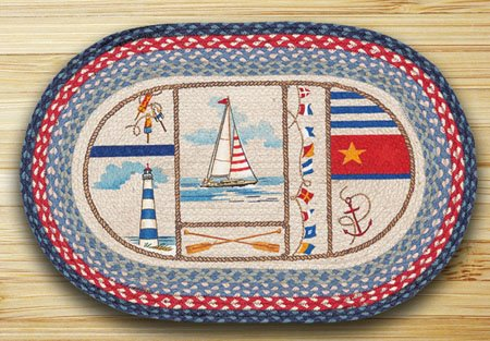 "Nautical Breeze Braided and Printed Oval Rug 20""x30"" Thumbnail"