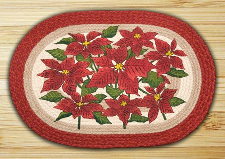 "Poinsettia Braided and Printed Oval Rug 20""x30"" Thumbnail"
