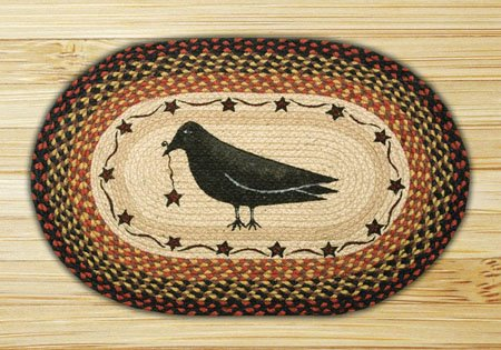 """Crow and Star Braided and Printed Oval Rug 20""""x30"""" Thumbnail"""